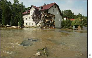 A damaged house in danger of collapsing in the province of Upper Austria