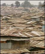 Kibera, the ever sprawling slum now housing half of Nairobi's population