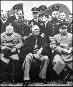 Churchill, Roosevelt and Stalin in Yalta in 1945