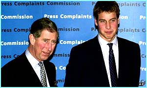 Prince Charles and Prince William at a Press Complaints Commission party
