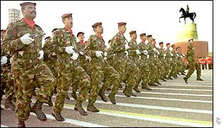 Iraqi soldiers march in formation