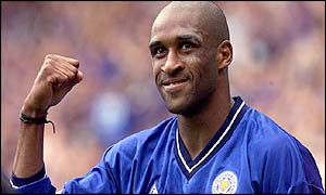 Brian Deane celebrates his first goal against Watford.