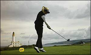 Carin Koch tees off at Turnberry's tenth hole