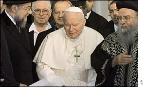 Pope John Paul II with chief rabbis of Israel in Jerusalem, March, 2000
