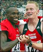 Wilson Kipketer is congratulated by Andre Bucher