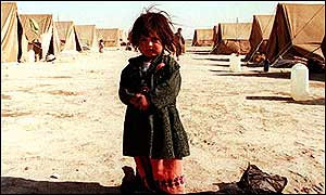 Afghan refugee in Iranian camp