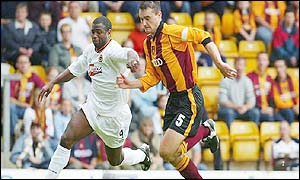 Wolves Nathan Blake and Bradford's David Wetherall