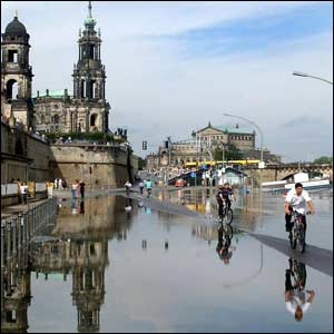 Dresden, after heavy rain and flooding from the river Elbe