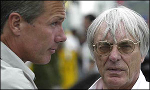 Craig Pollock (left) with F1 boss Bernie Ecclestone