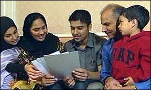 A student open his results with his family