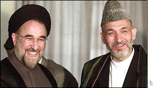 Mohammad Khatami (left) and Hamid Karzai (right)