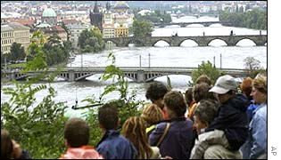 Prague residents watching River Vltava