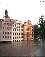 Flooded Prague streets