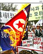 A flag is burnt at an anti-North Korean protest