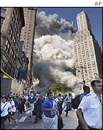 Scenes of panic in New York as the World Trade Center collapses