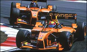 Enrique Bernoldi and Heinz-Harald Frentzen race their Arrows at the European Grand Prix this year