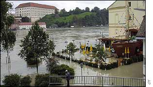 A flooded restaurant in the Austrian city of Linz