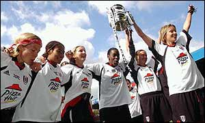 Fulham celebrate victory over Doncaster Belles in the AXA Women's FA Cup final