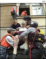 Woman evacuated from her home in Prague