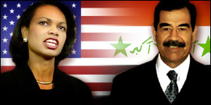 US National Security Advisor Condoleezza Rice and Iraqi leader Saddam Hussein