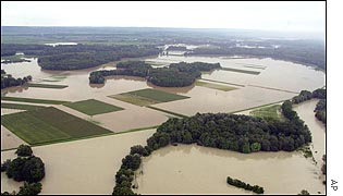 Fields near Vienna flooded by the River Danube