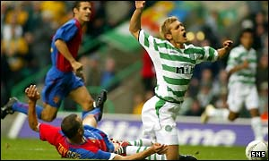 Stilian Petrov earns Celtic an early penalty