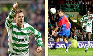 Chris Sutton (left) gives Celtic the lead and in the closing minutes Momo Sylla hits the third for the Bhoys