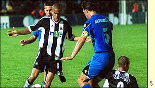 Newcastle midfielder Kieron Dyer in action against Zeljeznicar Sarajevo