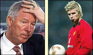 Manchester United manager Sir Alex Ferguson and midfielder David Beckham rue a disappointing display