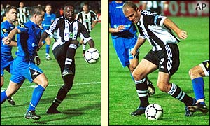 Lomana Lua Lua and Alan Shearer unsettle the Zeljeznicar defence