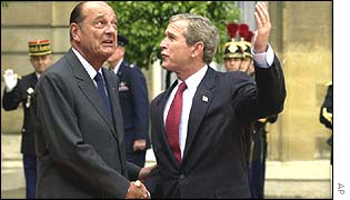 George W Bush meets Jacques Chirac