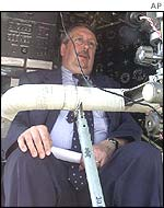 Andre Flahaut at the controls of a Russian military aircraft