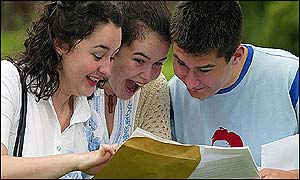 Becky Lee (L) gets AS level results, while twins Katie and Jamie receive A level results
