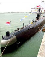 A submarine moored in Qingdao