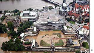 Dresden's Zwinger Palace, foreground, Semper Opera, left, and cathedral, right