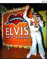 Elvis impersonator Marciano Franco takes part in an Elvis impersonation contest in Malaysia