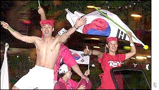 South Korean fans celebrate a World Cup win