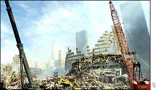 The ruins of the World Trade Center