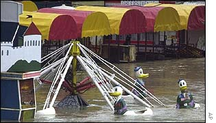 An amusement park is flooded in Slovak capital Bratislava,
