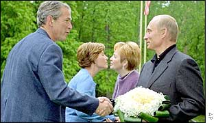 US President George Bush shakes hands with Russian President Vladimir Putin