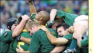 South African celebrations after the final whistle in Johannesburg