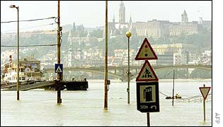 Budapest's rising flood waters, with Buda Castle in the background
