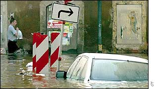 A flooded street in the German town of Meissen