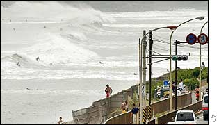 Surfers take advantage of big waves off Japan