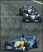 Jenson Button leads Juan Pablo Montoya and Kimi Raikkonen
