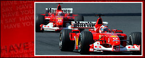 Barrichello heads home Michael Schumacher for a Ferrari one-two