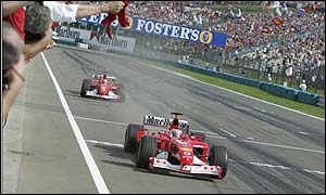 Ferrari claim the constructors' title after Barrichello lead a team one-two in Hungary