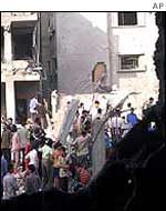 Building in ruins following Israeli air strike