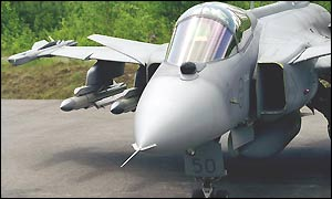 Jas-39 Gripen fighter aircraft with Meteor missile