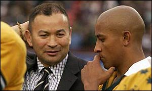 Eddie Jones and George Gregan digest the Wallabies' defeat
